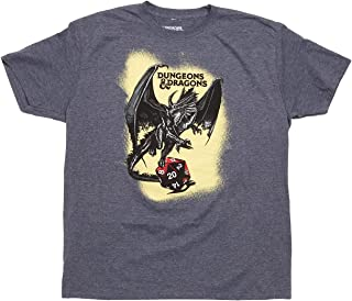 Dungeons & Dragons Tee DND D20 Die Graphic with Black Dragon Mens Novelty T-Shirt