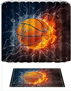 ChuaMi Sports Shower Curtain Set, Basketball Ball on Fire and Water Flame Splashing Thunder Lightning Image, Bathroom Decor Polyester Fabric 69 x 70 Inches with Hooks and Anti-Slip 60 x 40 Bath Mat
