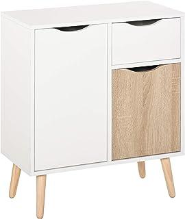 Meuble de rangement design scandinave 2 placards tiroir coulissant pieds bois massif pin panneaux particules blanc chêne c...