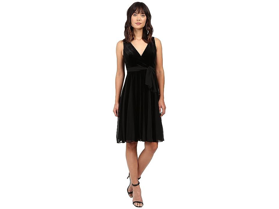 Adrianna Papell Surplus Midi Velvet Spliced Carwash Dress (Black) Women