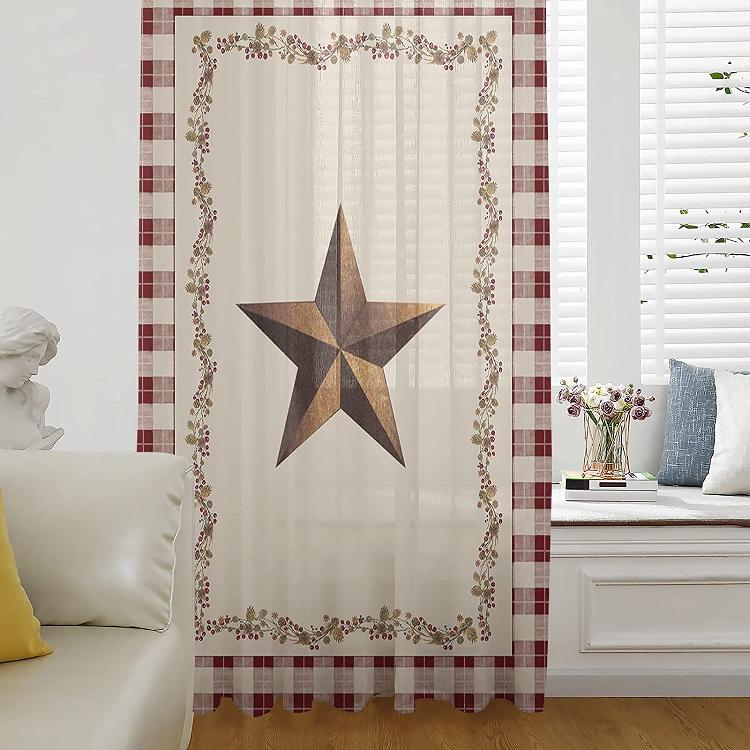 Popular shop is the lowest price challenge Sheer Window Curtains Breathable Curtain Panel American Country Super special price
