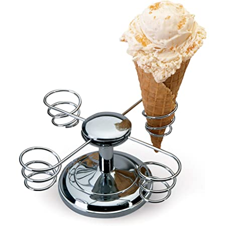 Chef'sChoice 838CH Ice Cream Four Holder with Weighted Base and Rotating Arms is Perfect for Supporting and Maintaining The Shape of Freshly Made Cones, 4-cone holder, Silver