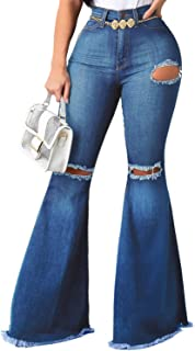 YouSexy Women's Bell Bottoms Jeans Knee Ripped Fitted Destroyed Flare Denim Jeans