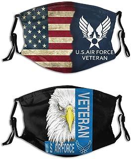 2PCs Patriotic Face Bandana Cover Adult Reusable Mouth Cover Windproof Neck Gaiter Balaclava Adjustable Elastic Strap
