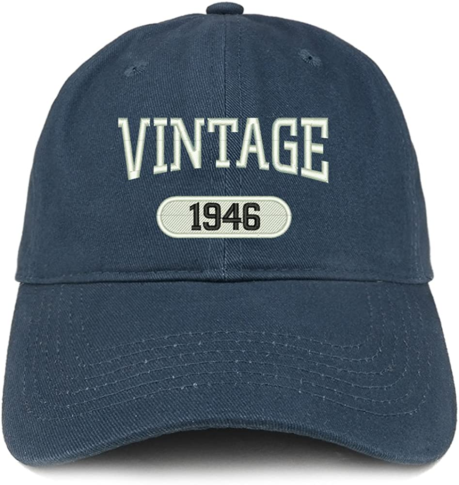 Trendy Apparel Shop Vintage 1946 Embroidered 75th Birthday Relaxed Fitting Cotton Cap