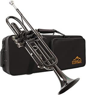 Eastrock Trumpet Brass Standard Bb Trumpet Set for Beginnner, Student with Hard Case, Gloves, 7C Mouthpiece, Trumpet Cleaning Kit-Nickel Plated Black