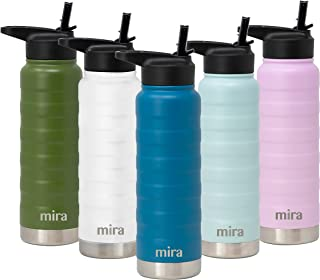MIRA 25 Oz Stainless Steel Vacuum Insulated Ridge Water Bottle | Double Walled Thermos Flask | 24 Hours Cold, 12 Hours Hot | Reusable Metal Water Bottle | Leak-Proof Sports Bottle | Hawaiian Blue