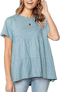 Women's Short Sleeve Flounce Blouse Loose Solid Ruffle High Low Hem Tunic Top Casual Round Neck T Shirt (XXL, Light Blue)