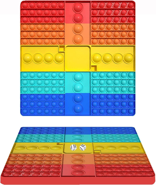 Big Pop Game Board with Dice Fidget Toy,Jumbo Rainbow Chess Push