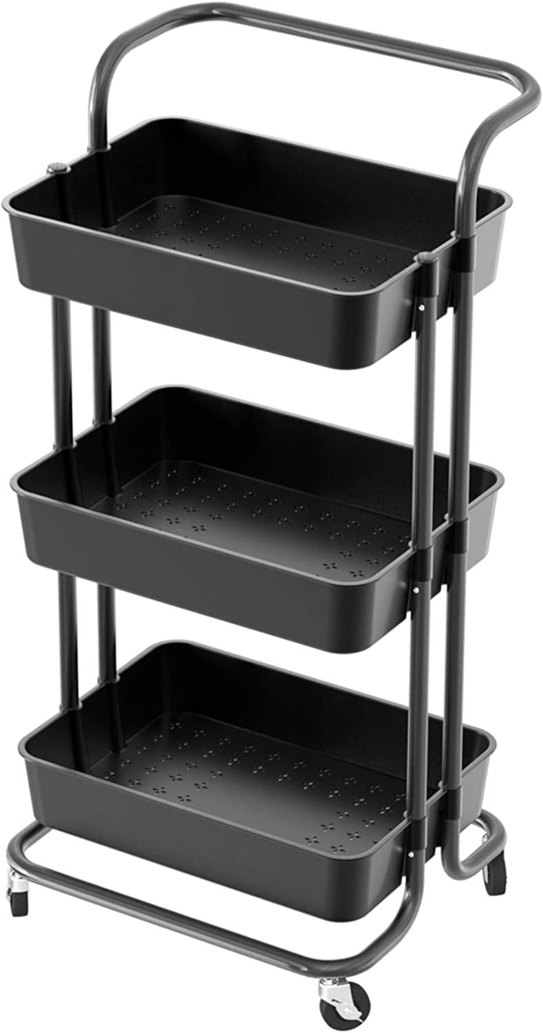 LILANYA Organizer Cart with Wheels 3-Tier Utility Metal A surprise price is realized Rolling Max 90% OFF