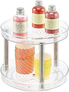 mDesign Rangement Cuisine Lazy Susan – Plateau tournant à 2 étages pour Aliments – Porte épice pour placards de Cuisines o...