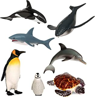 Terra by Battat – Sea Life Set – Toy Whales, Penguins, Dolphin, Shark, and Turtle – Ocean Animal Toys and Playsets for Kid...