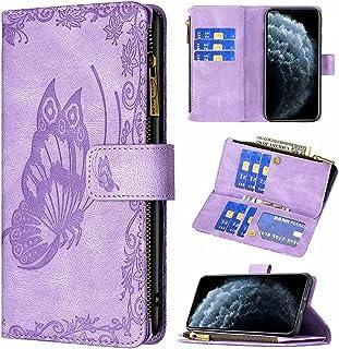 TYWZ Plånboksfodral med dragkedja för Samsung Galaxy A12 5G, prägling fjäril PU-läder flip plånbok dragkedja väska med 9 k...
