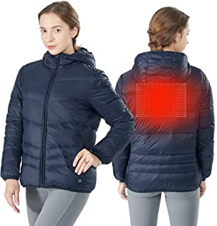 Women's Heated Down Jacket, Lightweight Water-Resistant Electric Warm Hooded Puffer Down Coat (Power Bank Not Included)