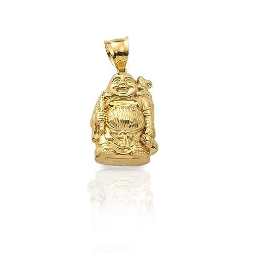 33adb876ab181 LoveBling 10K Yellow Gold Happy Buddha Diamond Cut Charm Pendant (1.77