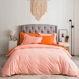 SUSYBAO 3 Pieces Duvet Cover Set 100% Natural Cotton King Size 1 Duvet Cover 2 Pillow Shams Solid Pink/Peach Luxury Quality Ultra Soft Breathable Comfortable Fade Resistant Bedding with Zipper Ties