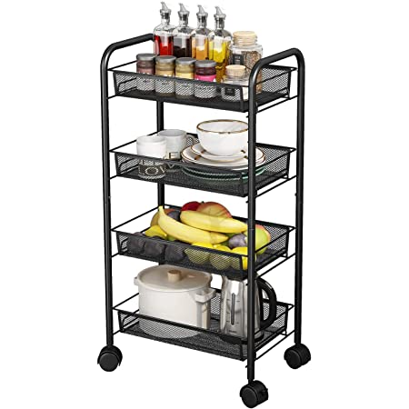 AIYAKA 4-Tier Metal Utility Rolling Storage Craft cart with Wheels,for Kitchen,Office,Bathroom,Black
