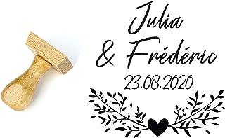 Timbro matrimonio personalizzato stile floreale, fiori e cuore, 4 cm, con nomi e data