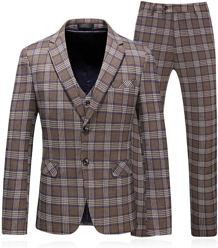 Mens One Button 3 Piece Suit Brown Plaid Men Business Blazer Jacket Tux Vest & Trousers