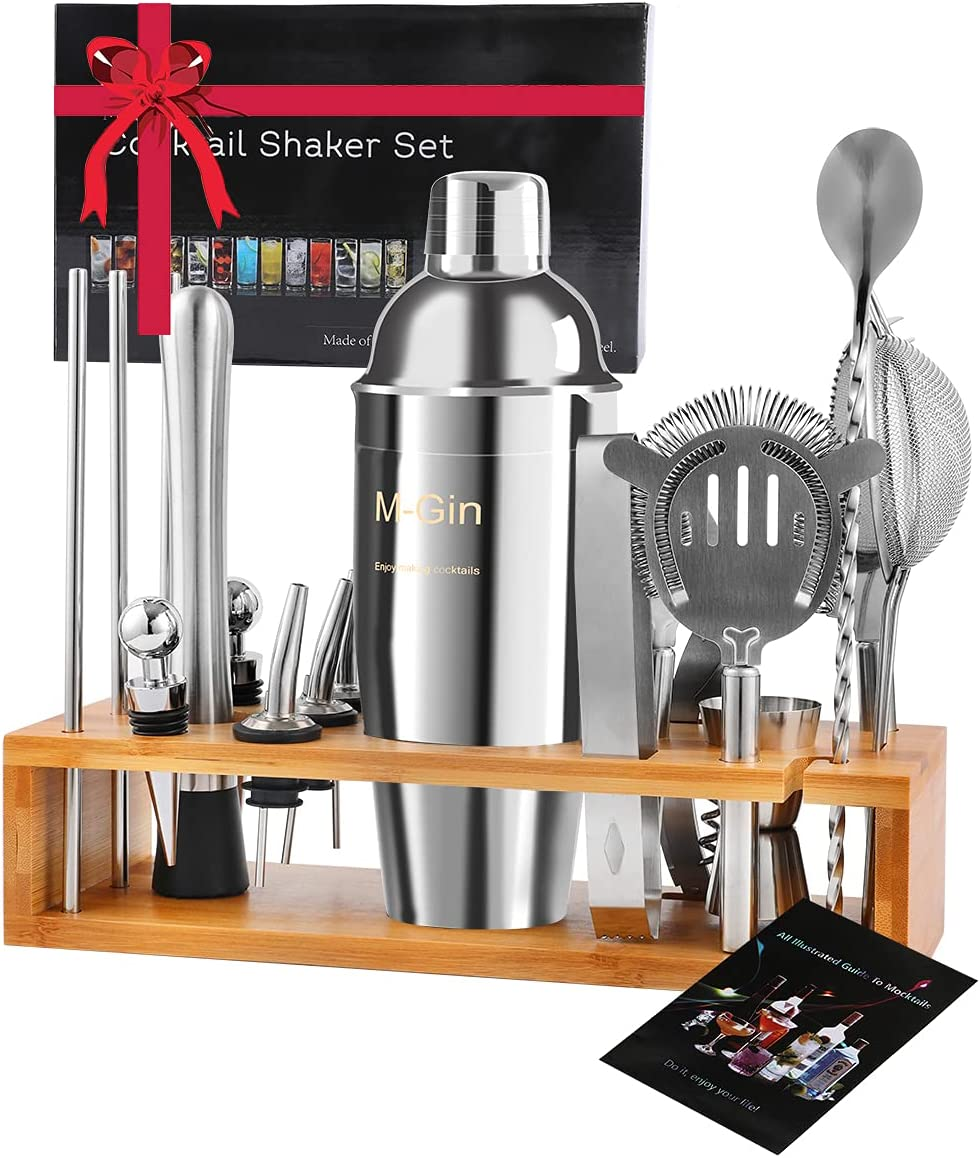 Bartender Kit | 20 PCS Cocktail Shaker Set Kit, Professional Home Bartending Kit with Stand, Bartender Kit with Bar Tools and Martini Shaker Drink Mixing Shaker Bar Tool Set, Best Wine Lover Gifts