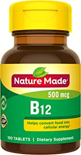 Nature Made Vitamin B12 500 mcg Tablets, 100 Count for Metabolic Health† (Packaging May Vary)
