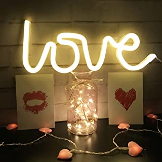QiaoFei Neon Love Signs Light LED Love Art Decorative Marquee Sign - Wall Decor/Table Decor for Wedding Party Kids Room Li...