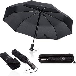 VON HEESEN Regenschirm sturmfest bis 140 km/h - inkl. Schirm-Tasche & Reise-Etui - Taschenschirm mit Auf-Zu-Automatik, klein, leicht & kompakt, Teflon-Beschichtung, windsicher, stabil Schwarz
