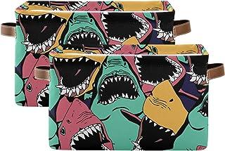 QMIN Panier de rangement en forme de requin - Grandes boîtes de rangement pliables pour jouets - Panier à linge pliable - ...