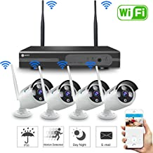 Anni 720P 8CH HD Wireless Security Camera System WiFi NVR Kit CCTV Surveillance Systems,(4) 1.0MP Outdoor/Indoor Weatherproof Wireless Bullet IP Cameras,65ft Night Vision, P2P,Motion Detection,NO HDD