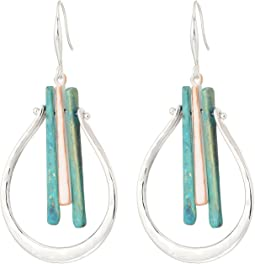 Silver and Patina Drop Earrings