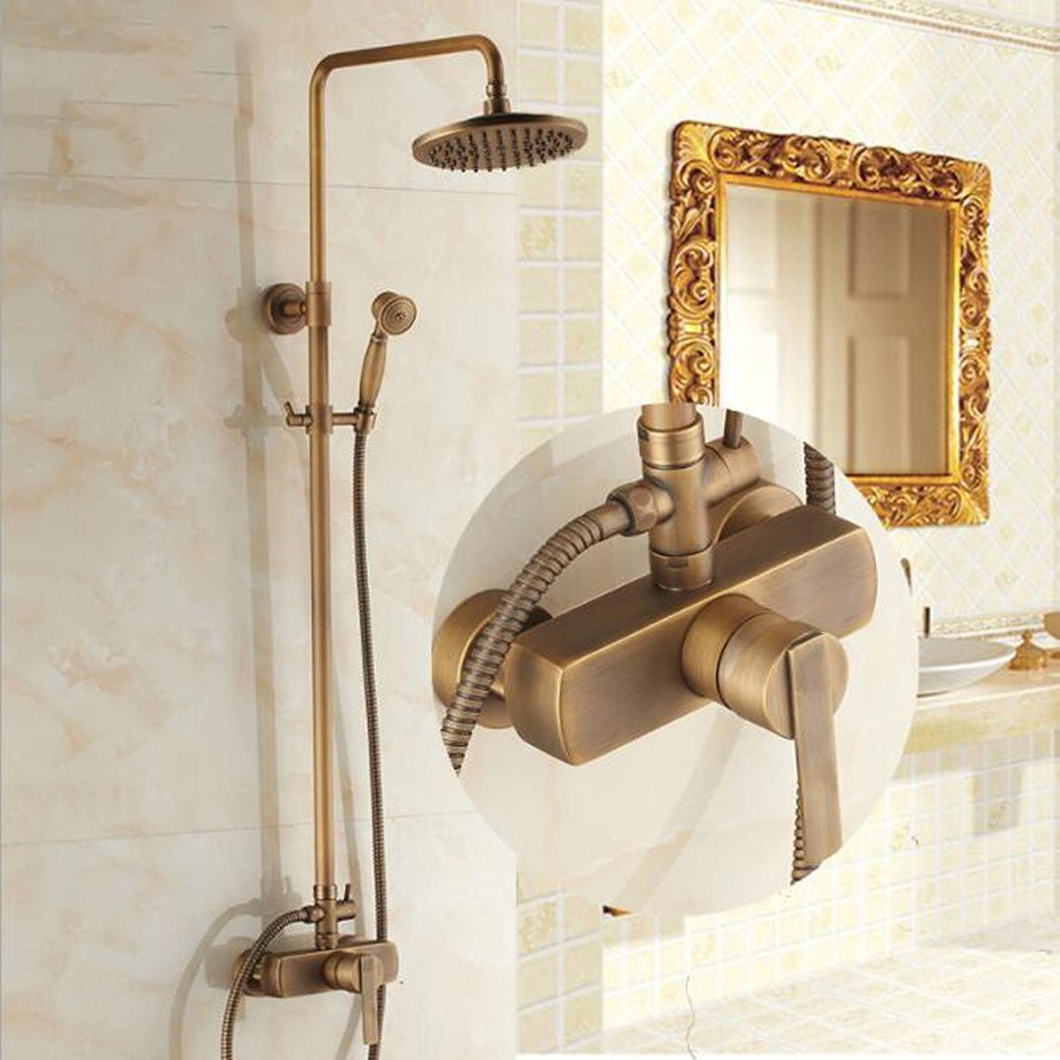 SJQKA shower set High Quality All Copper Antique Shower Shower Set Can Be Raised Square Hot And Cold Shower,A
