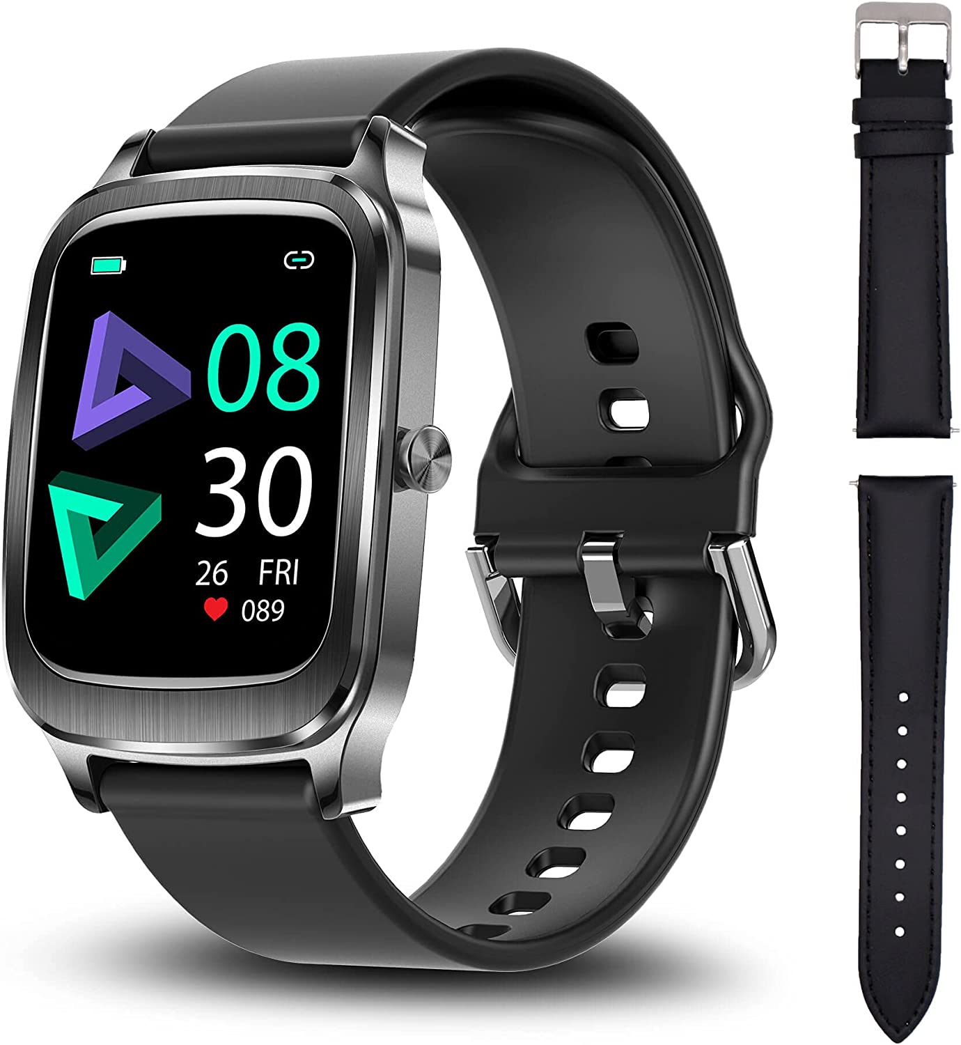 Smart Watch, Hongmed Sport Fitness Tracker with Heart Rate, Sleep Monitor, Smartwatch for Android Phones iPhone Compatible, 5ATM Waterproof Swimming Activity Tracking with Compass for Men Women Black