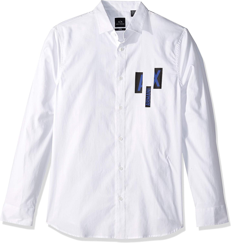 A X Armani Exchange Mens Classic Button Down with Ax Logo Button Down Shirt