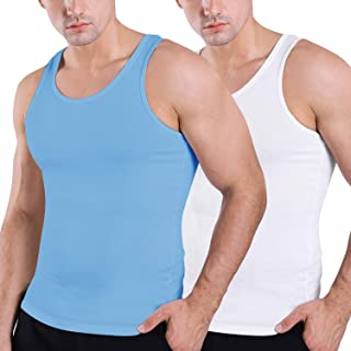 HISKYWIN Men's 2 Pack Workout Tank Tops Sleeveless T-Shirt for Training Sports Gym Fitness Bodybuilding Running