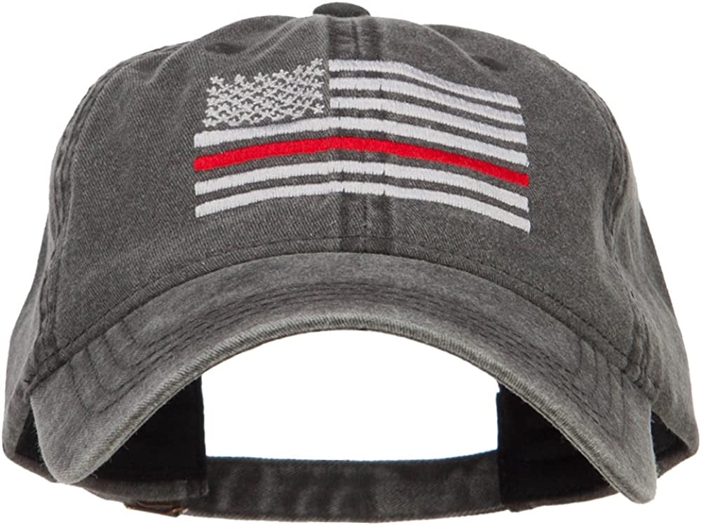 In stock Thin Red Line Silver USA Flag Embroidered Washed Max 79% OFF Cap
