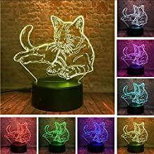 KLJLFJK Night Light Cute 3D Cosy Lying Down Leisure Cat Led Night Light USB Touch 7 Colorful Light Children Bedroom Lamp Kids Xmas Party Gifts Home Decor