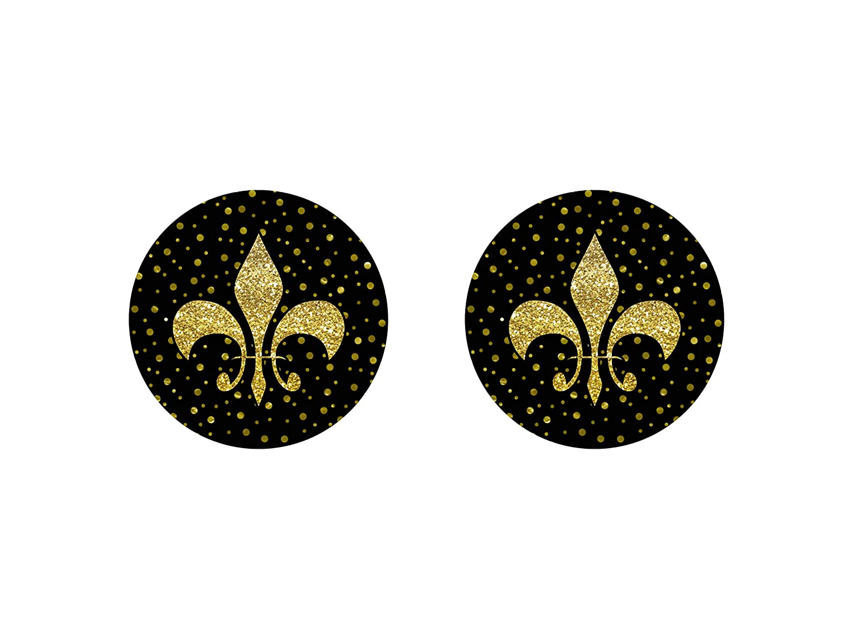 Black Gold Fleur Max Super sale 73% OFF De Lis Car of 2 Neoprene Coasters Set
