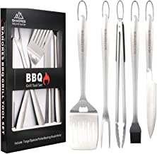 BANORES BBQ Grill Accessories, 18 inch Lengthened Thicken Handle Stainless Steel Grill Utensils Sets Hangable for Kitchen/...