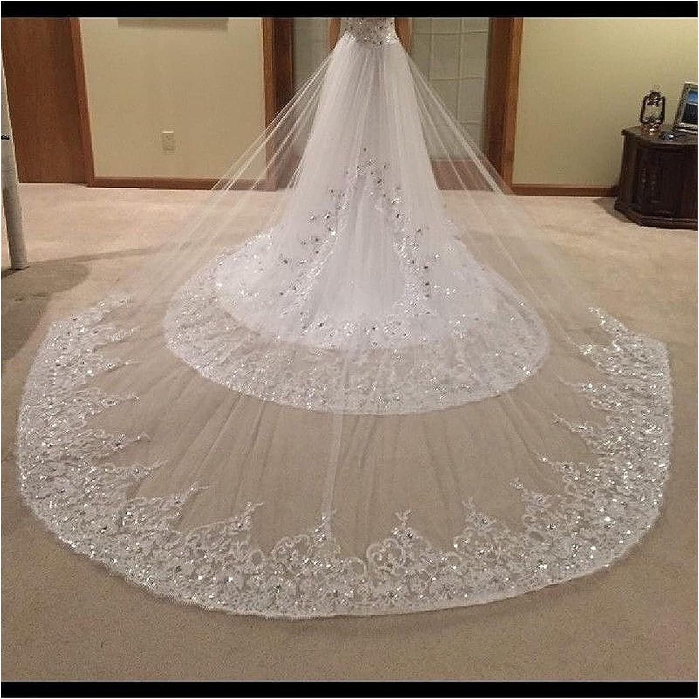 Bombing free shipping xunyang 2021 New Bling Crystal Beading White Veil Bridal Max 86% OFF Iv Lace