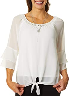 AGB Women's Flounce Sleeve Tie Front Top