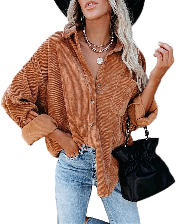 Womens Corduroy Shirts Oversized Casual Sleeve overseas Long Phoenix Mall Button Down