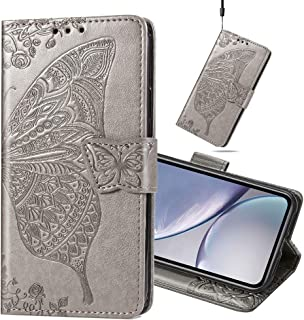 MEIKONST Huawei Honor 9X Lite Case, Elegant Embossed Gray Butterfly Soft PU Leather Flip Wallet Case with Stand Magnetic C...