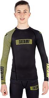 Tatami Fightwear Kids Essential 3.0 Long Sleeve Rash Guard - Black & Yellow Gym, Workout, Jiu Jitsu, Grappling, BJJ, MMA