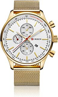 CURREN Men's Wrist Watches Business Quartz WristWatch 3ATM Daily Water-resistant Wristwatch Black/Silver/Gold Gold-White