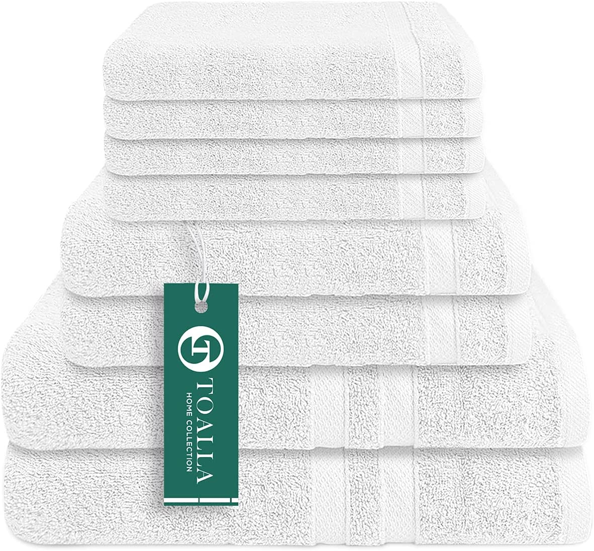 Terry Bath Towels Set of 8 White 650GSM Long Staple Gifts Combed 100% List price