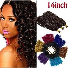 Marlybob Crochet Braids Hair Extension Deep Wave Afro Kinky Jerry Curl Jamaican Bulk Braiding Dreadlocks Weave for Black Women 14inch 3 lots/pack 270g-Dark Black