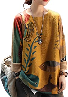 YESNO Women Sweater Graphic Oversized Pullover Sweaters Casual Loose Long Sleeve Knit Tops S01