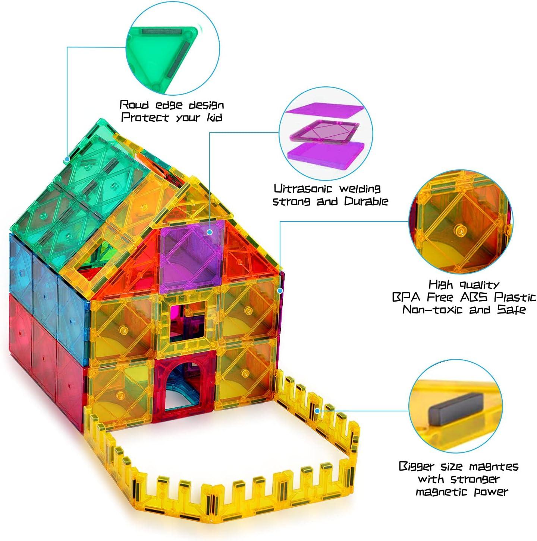 AFUNX 130 PCS Magnetic Tiles Building Blocks 3D Clear Blocks...