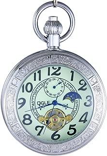 Waterproof Luminous Magnifier Tourbillon Moon Sun Chain Fob Self Wind Automatic Mechanical Pocket Watch