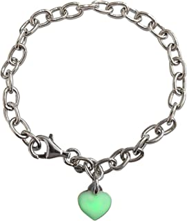 Loox Garnet Bracelet Femme en Argent Fin 925/1000 Blanc avec Email Vert, Cm 18, 4.5 Grammes
